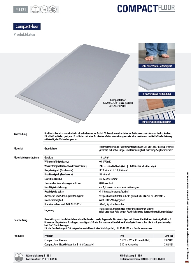 compactfloor pro universal trockenbauplatte 10 mm fu bodenheizung und wandheizung f r trockenbau. Black Bedroom Furniture Sets. Home Design Ideas
